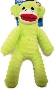 "Vibrant Life Cozy Buddy Sock Monkey Green 9"" Squeaky Dog Toy Fetch Chew Plush"