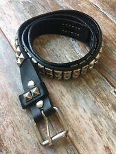 HOT TOPIC Men's/Women's SIlver Studded GOTH-ROCK Black Leather Belt Sz. 36 EUC!