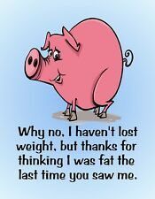 METAL REFRIGERATOR MAGNET Pig No Weight Lost Thanks Thinking I Was Fat Humor