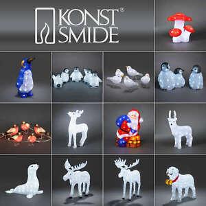 Konstsmide LED Acryl Figur Elch Vögel Pilz Robbe Hund Pinguin Rentier Eule