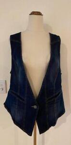 FLOWER Blue Stretch Denim Jean Vest Waistcoat With Pockets Size 16