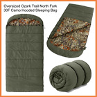 Ozark Trail Sleeping Bag 30F Hooded Camo Flannel Oversized Durable Camping