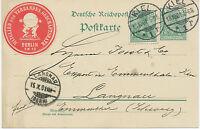 "DT.REICH ""KIEL / 1"" K2 5 Pf Germania Reichspost Kab.-GA-Postkarte 1901 Schweiz"