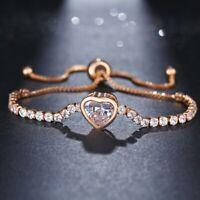 Chic Crystal Rhinestone Heart Bangle Charm Elegant Ladies Jewelly UK Gift