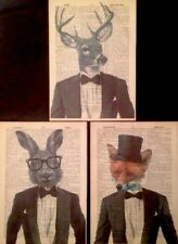 3 X Stag Hare Fox Prints Vintage Dictionary Page Wall Art Pictures Animals Deer