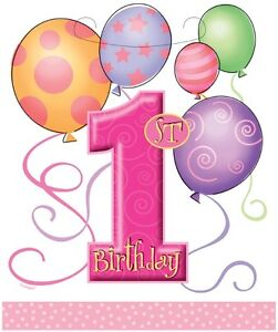 1st Birthday Pink Balloons Party Lootbags 8pk