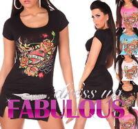 SEXY WOMEN'S TOP GLITTER T-SHIRT ROSE TATTOO PRINT Size 4 6 8 10 12 14 S M L XL