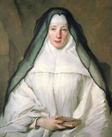 Oil painting young female portrait nun sister religieuse vestal with book canvas