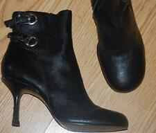 sexy STEVE MADDEN black leather stiletto heel ANKLE boots booties 6.5 EUC