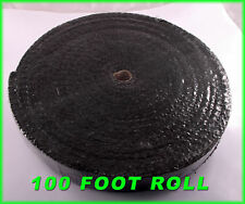 """BLACK EXHAUST HEAT HEADER PIPE WRAP ROLL 1/8""""X2""""X 100 FT INSULATING SHIELD TAPE"""