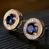 2.50Ct Round Cut Blue Sapphire Diamond Halo Stud Earrings 14K Yellow Gold Finish