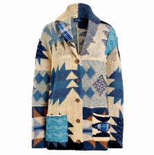 $398 Polo Ralph Lauren Southwestern Patchwork Cotton Linen Cardigan-WOMEN- S