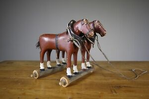 19th Century English Antique Wooden Dray Horses in Paint
