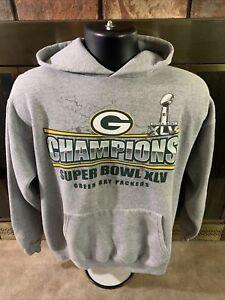 Green Bay Packers NFL Football Hoodie Hooded Sweatshirt Mens Medium Super Bowl