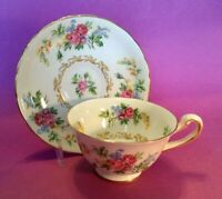 Royal Chelsea Pedestal Teacup And Saucer  - Roses And Wildflowers - England