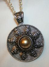 Striking Etched Flower Light Green SimPearl Silvertone Pendant Necklace