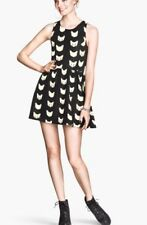 H&M Divided Cat Mini Fit Flare Skater Dress Black White Kitty Kittens X-small