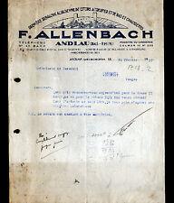 """ANDLAU (67) USINE de COTONS à tricoter , BAS & CHAUSSETTES """"F. ALLENBACH"""" en1937"""