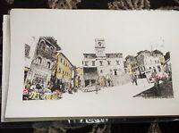 """SIGNED LIMITED EDITION PRINT LUCY CHAPMAN CAFE DI MATTINA 18"""" X 11"""" UNFRAMED"""