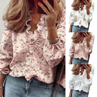 Women Blouses Fashion Long Sleeve V-Neck Floral Printed Shirt Casual Tops Blusas