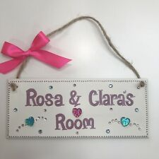 PERSONALISED CHILDRENS SHARED ROOM GIRLS TWINS NAME DOOR WALL SIGN PLAQUE BLING