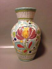 Large 11 inch Italian Studio Pottery Sgraffito Vase Enamel Glaze Mid Century