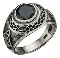 Elements 925 Oxidised Silver Celtic Triquetra Black Crystal Men's College Ring