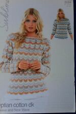 Ladys double knit sweater pattern Sirdar 6084 Wave design