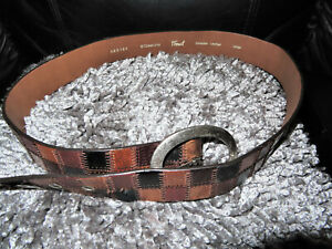 Fossil multi leather waist belt Large size genuine leather quilted squares vgc