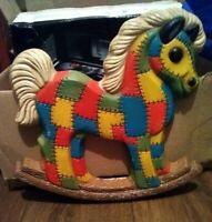 "Vintage Nursery Room Patchwork Rocking Horse  Wall Decor 12"" X 12"" 1970's"