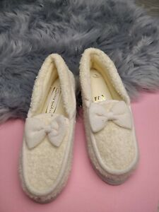 WOMENS LADIES TEXTILE BOW SOFT COMFY SLIP ON MOCCASIN SLIPPERS SIZE UK 3