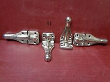 4 VINTAGE NOS MORE AVAIL CABINET DOOR STEAMER TRUNK CHROME PLATED HINGES #1