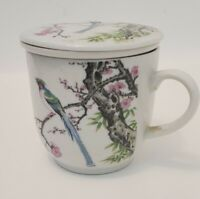 Ceramic Japanese tea cup with infuser and lid
