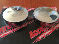 Peaked Chrome Pivot Bolt Covers by Accutronix Harley Softail Swingarms 2000-2007