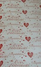2 SHEETS RUBY WEDDING GIFT WRAP 40TH ANNIVERSARY PAPER 1 TAG