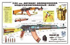"""Soviet Russian Poster Kalashnikov Gun AKM 7.62 Automatic Rifle Print HUGE 24x36"""""""