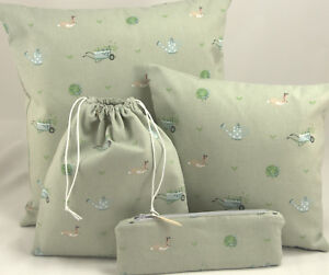 "Sophie Allport Gardening Fabric.16"" 12"" Cushion Wash Cosmetic Pencil Bag Floral"
