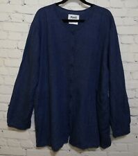 Vintage FLAX 100/% Linen Pullover Top Rare Hi Low Hem /& Long Sleeves