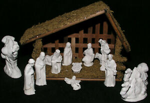 "Christmas Nativity Vtg Full Creche Handmade Set Ceramic Wood Stable 15 Pieces 5"""