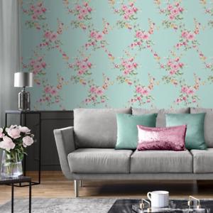 Catherine Lansfield Designer Canterbury Floral Duck Egg Pink Wallpaper 165500
