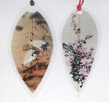 White Crane Bird & Cherry Blossom Flower Leaf Bookmarks - Asian Painting Marker