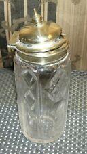 Vintage ~ Clear Glass W/ Metal Silver Tone Top Cruet Pepper Salt Oil Dispenser