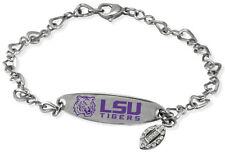 LOUISIANA STATE LSU TIGERS * Stainless Steel ID Bracelet w/CZ * New NCAA Jewelry