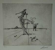 Limited edition etching, Surrealism Giraffe, signed Salvador Dali w DOCS