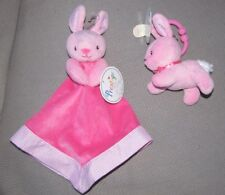 PRESTIGE PINK BUNNY RABBIT SECURITY BLANKET & PLUSH TOY EASTER SHOWER GIFT NEW