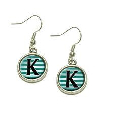 Letter K Initial Black Teal Stripes Dangling Drop Charm Earrings