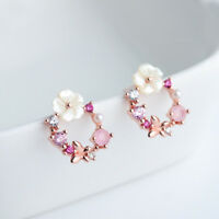 Crystal Women Girls Ear Stud Fashion Jewelry Flower Stud Earrings