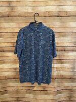 Peter Millar Mens Summer Comfort Blue Paisley SS Performance Polo Shirt Large