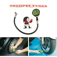 Tyre Pressure Gauge 0-60 Psi / 0-4 Bar 550mm Reach Swivel Head & Connector |6055