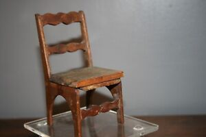 Early American 1830's Miniature Chair Primitive Antique Folk Art Doll Toy